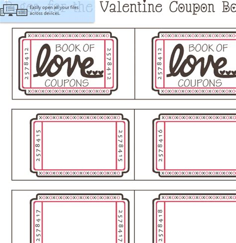 valentines day coupon sheet  excel templates