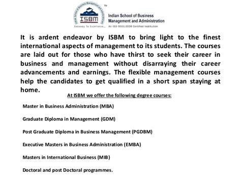Mba Degree Subjects by Isbm Mba Degree Value And Reviews