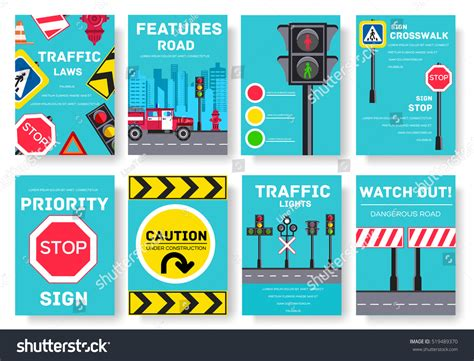 traffic light cards template traffic light day vector brochure cards stock vector