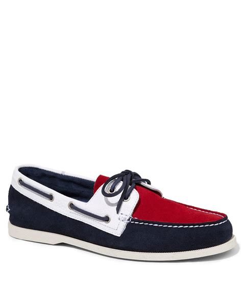 express suede and leather color block boat shoe in for