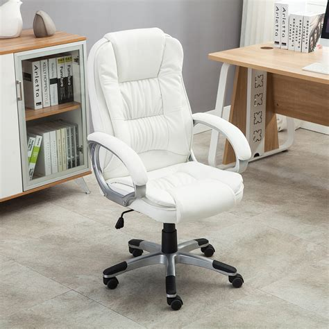 white leather desk chair white pu leather high back office chair executive