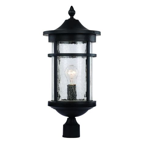 Bel Air Outdoor Lighting Bel Air Lighting 1 Light Black Outdoor Crackled Outdoor Post Lantern 40384 Bk The Home Depot