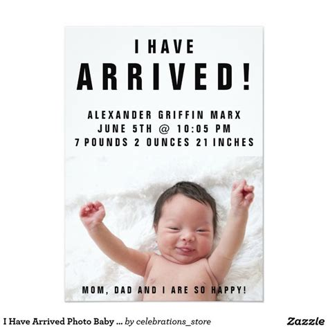Text Baby Announcement I Arrived Photo Baby Birth Announcements Adorable I
