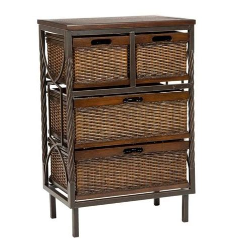 andrew storage unit w wicker basket drawers at brookstone