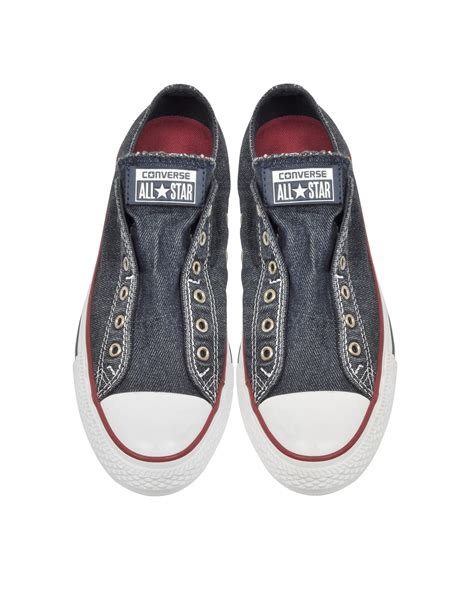 Converse Chuck All Slip Sneakers Hijau converse chuck all ox denim slip on sneaker in blue for lyst
