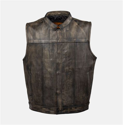 leather vest distressed brown leather motorcycle club vest bikers
