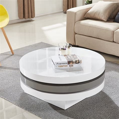 High End Dining Room Furniture Triplo Rotating Coffee Table In White And Grey High Gloss
