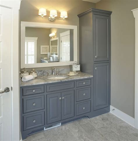 Grey Bathroom Vanity Cabinet Bathroom With No Linen Closet Vanity With Linen Cabinet For Remodel Of The Bathroom Some Day