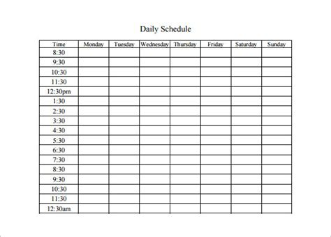 free schedule template daily schedule template 5 free word excel pdf
