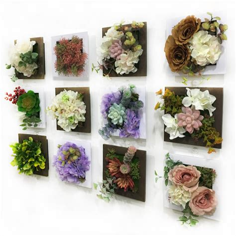 Artificial Flowers For Home Decoration New 3d Artificial Flowers Succulent Plants Imitation Wood Photo Frame Wall Decoration Home Decor