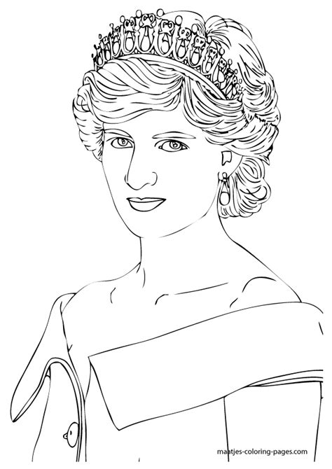 princess diana free colouring pages