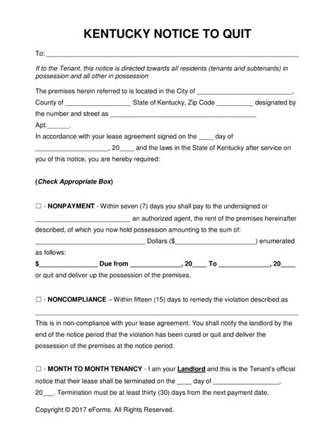 printable eviction notice ky free kentucky eviction notice forms process and laws