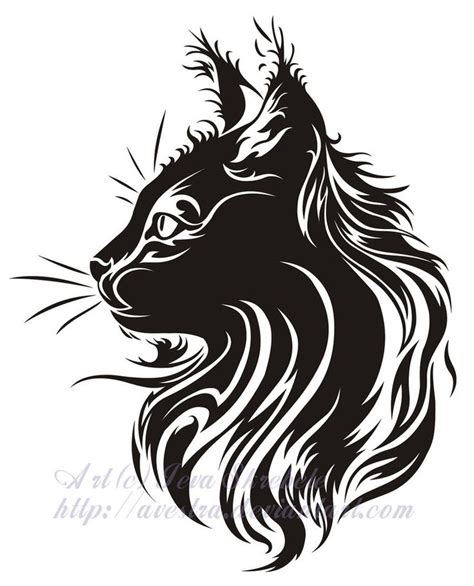 tribal tattoo outline cat profile tribal by avestra on deviantart