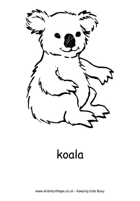 Koala Colouring Page You Know For Kids Pinterest Koala Template