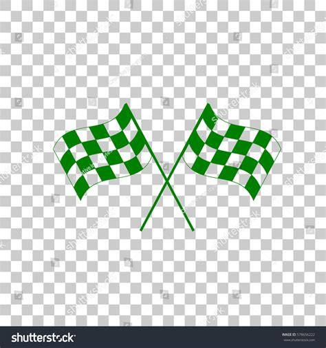 Green Check Icon Transparent Background Crossed Checkered Flags Logo Waving Wind Stock Vector 578656222