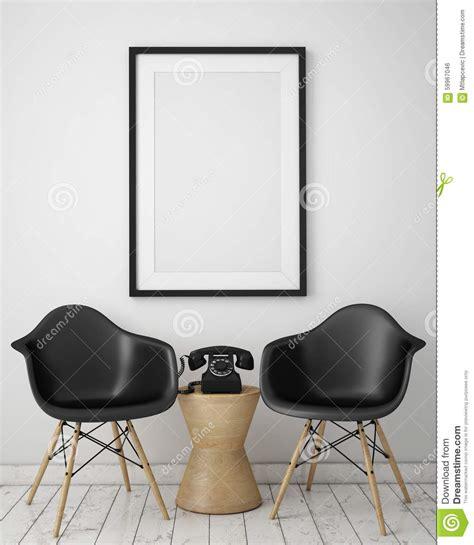 mock  poster  loft interior background stock photo image