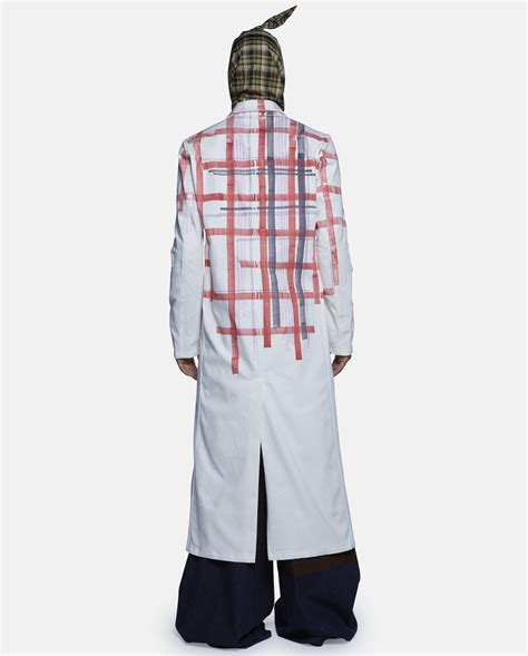 lab jacket pattern raf simons printed cotton lab coat in red for men lyst