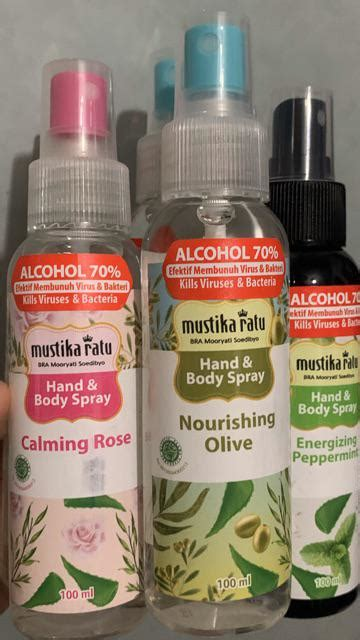 mustika ratu multipurpose hand body sanitizer spray ml nourishing olive shopee indonesia