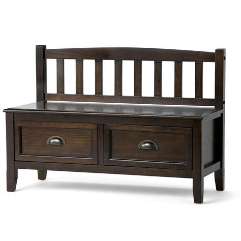 espresso bench with storage amazon com simpli home burlington entryway storage bench