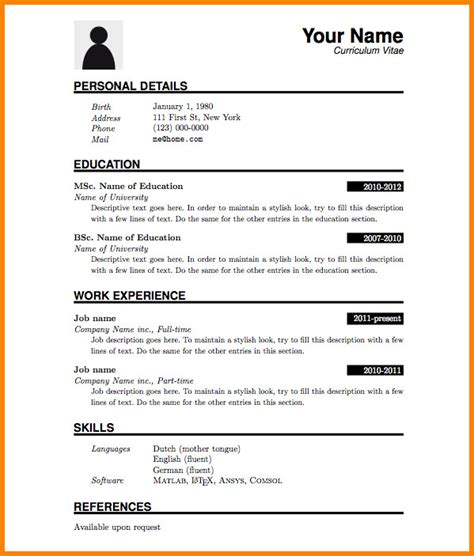 Exemple De Cv Simple Word by 12 Exemple Cv Simple Word Usssandiego
