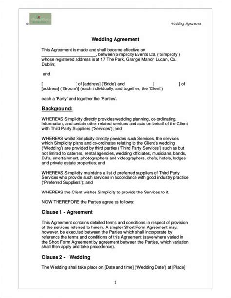 5 Wedding Planner Contract Sles Templates Sle Templates Wedding Contract Template For Wedding Planner