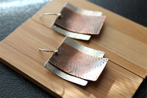 Copper Handmade - mixed metal earrings silver and copper earrings modern
