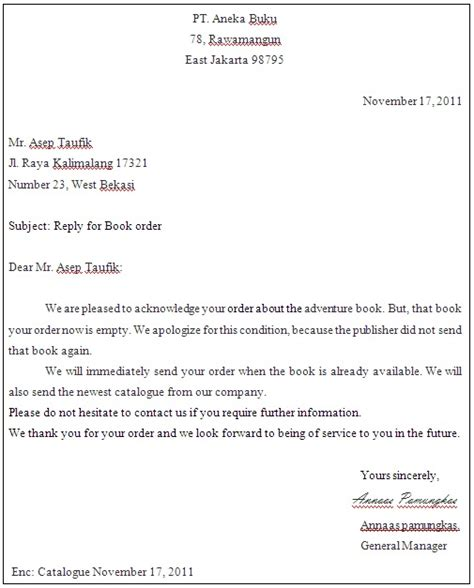 Business Letter Order Annaas Pamungkas Order Letter Of Business Letter