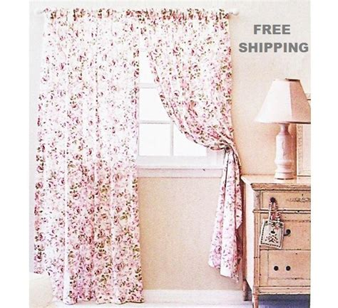simply shabby chic curtains white chiffon floral 28