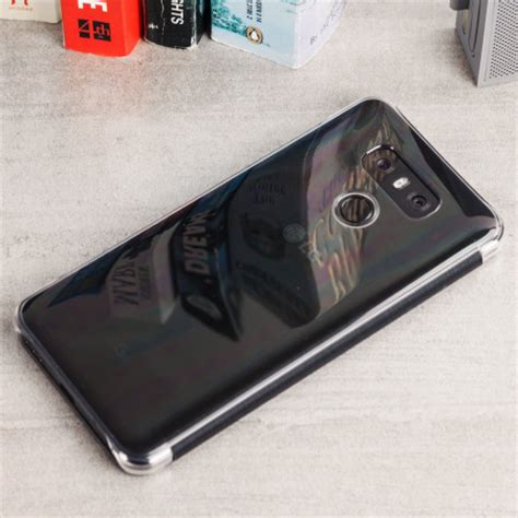 official lg g6 quick clear cover case black