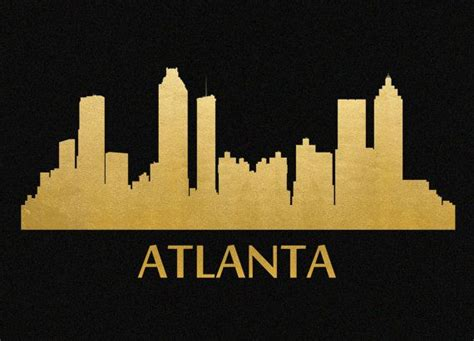 atlanta skyline tattoo atlanta skyline gold foil print 8x11 by garageshirtsink on