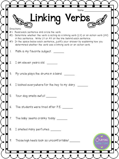 Free Verb Worksheets by Crafting Connections Linking Verbs Anchor Chart For