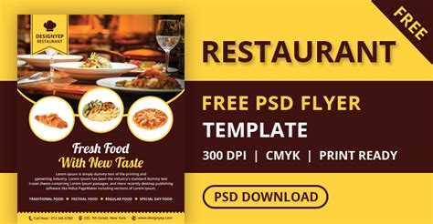 free templates for restaurant flyers free restaurant flyer psd template designyep