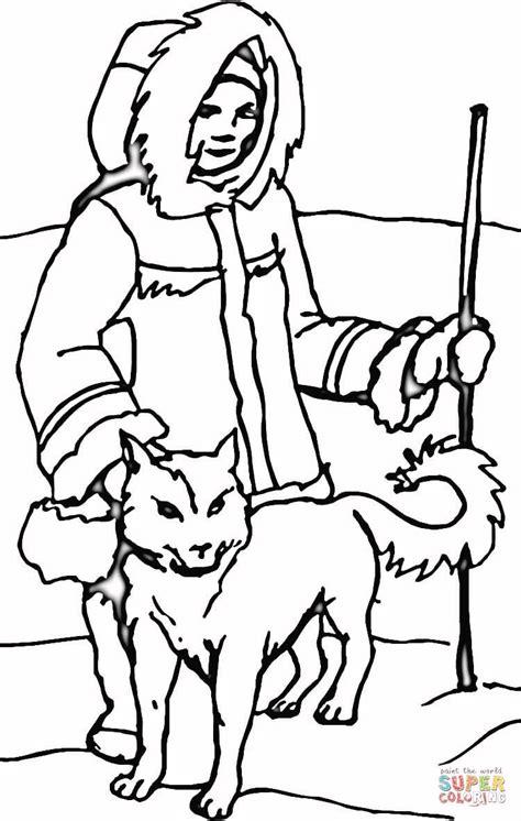eskimo dog with eskimo coloring page free printable