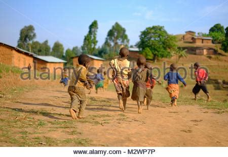 a group of children on a plantation in kenya, africa stock