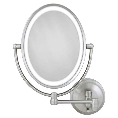 Kaca Mulut Led Mirror With Led zadro 15 in l x10 in w led lighted oval wall mirror in satin nickel lovlw410 the home depot