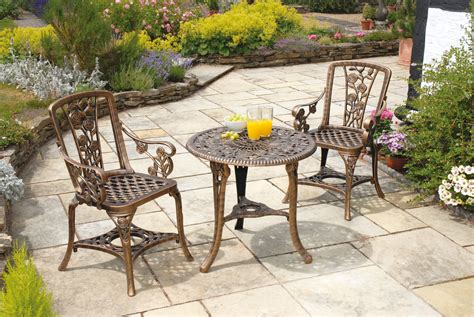 3 Piece Resin Garden Bistro Patio Set In Bronze Patio Furniture Bistro Set