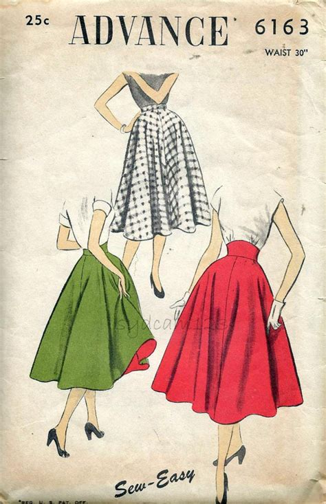 pattern for vintage skirt vintage 1950s high waist circle skirt pattern straight or