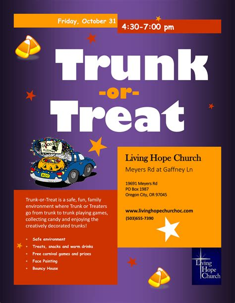 trunk or treat flyer template trunk or treat living church oregon city or