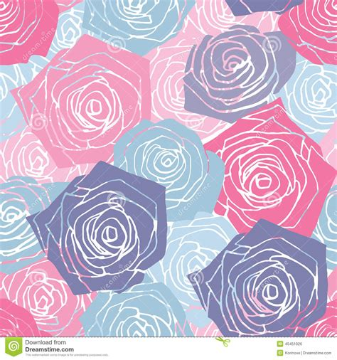 pattern pink and blue pink and blue roses pattern stock vector image 45451026