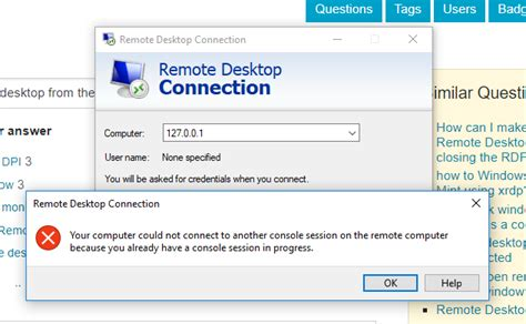 rdp console windows 10 how can i open a 2nd session in quot remote