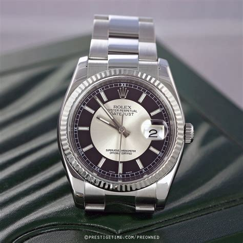 Rolex Rantai Silverblack pre owned rolex datejust 36mm stainless steel 116234 black and silver oyster