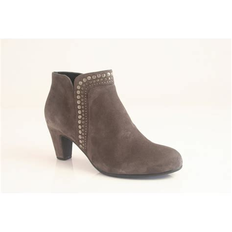 gabor grey suede leather zip up ankle boot with metal stud