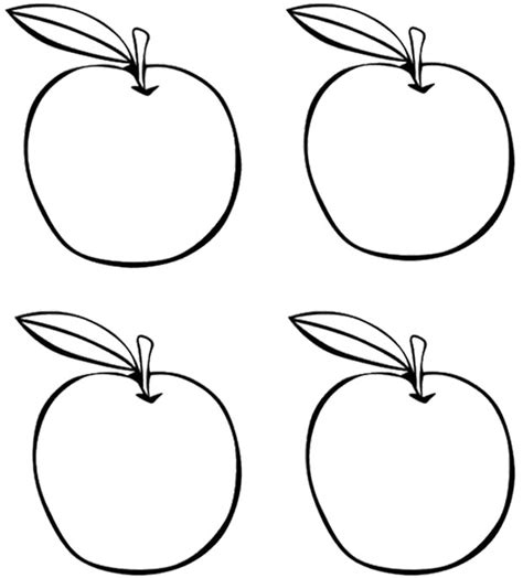 four apples coloring page kids coloring pages