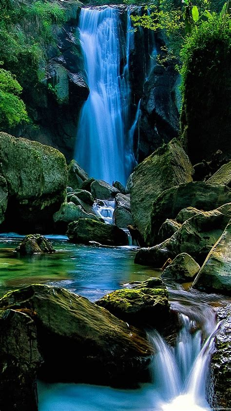 wallpaper hd android landscape 1080x1920 waterfall forest nature landscape wallpapers hd