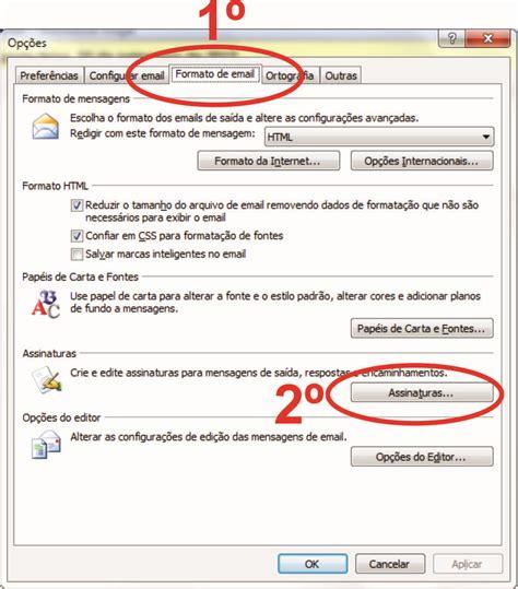 como colocar layout no email como criar assinatura no microsoft outlook 2007 e 2010