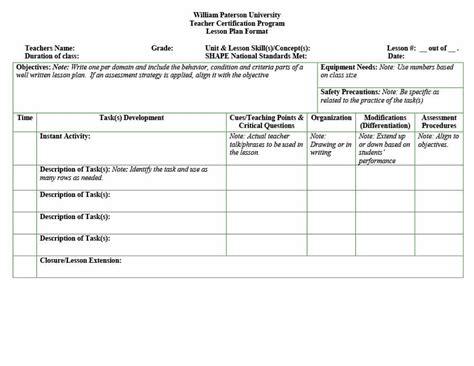 co teaching universal design lesson plan template templates