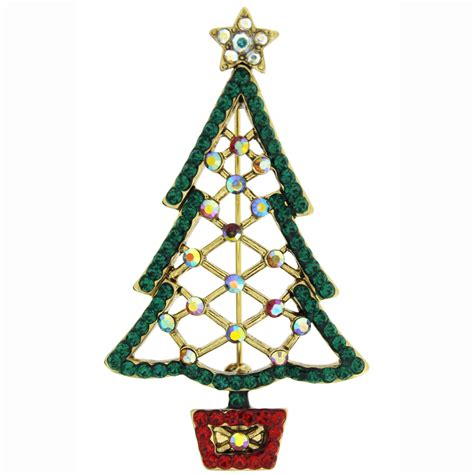 butler and wilson cut out crystal christmas tree brooch