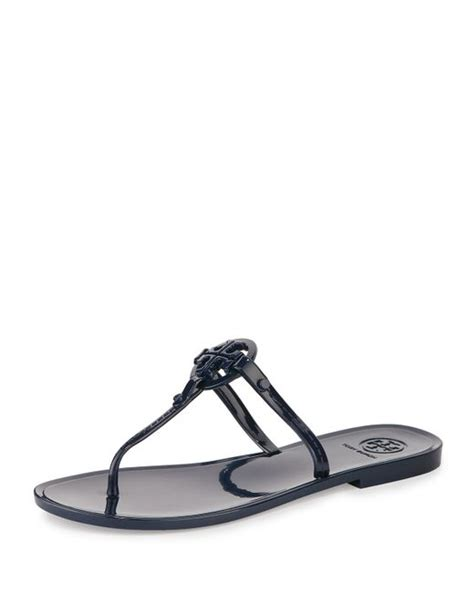 burch jelly sandals burch colori logo detail jelly sandals in blue