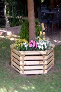 wooden hexagonal build around tree seat planter large ggo6