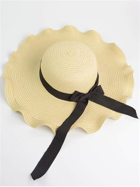 Hats On To Marc Color Shape by Wave Shape Bow Knot Straw Hat In White One Size